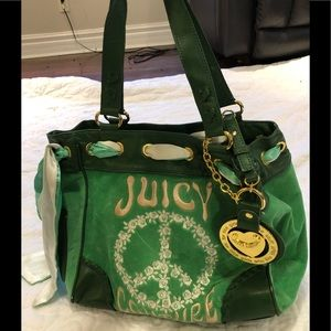 Green juicy couture purse bag peace